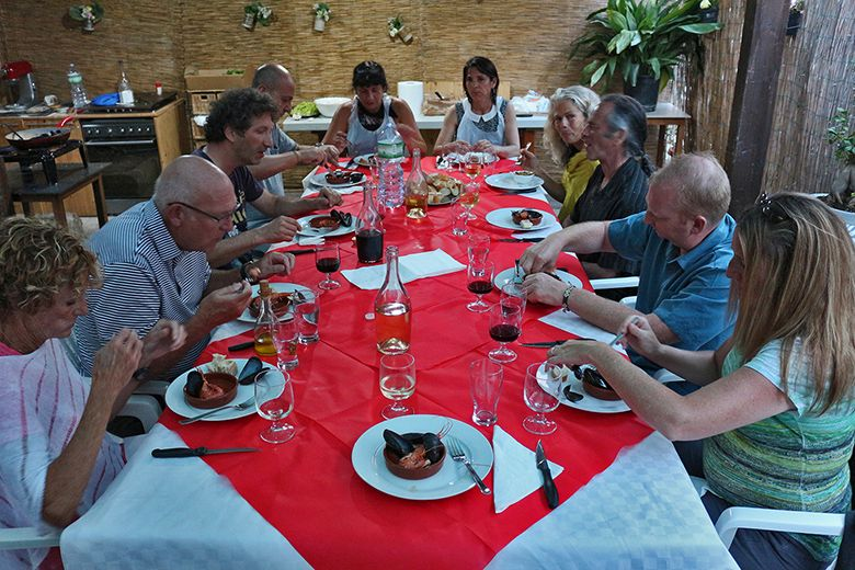 Supper Time at Bike Tour in Italy